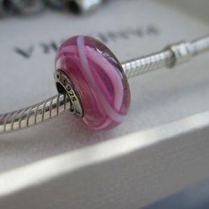 Pandora Pink Ribbon of Hope Murano Charm